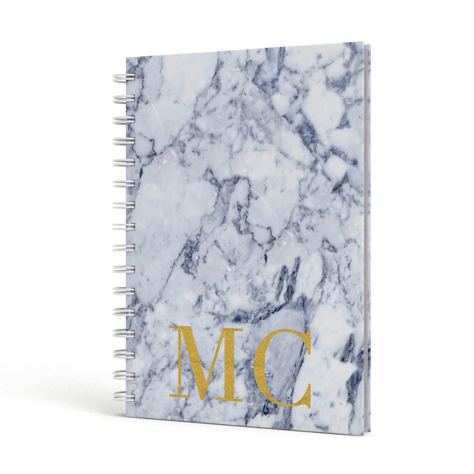 Marble Gold Initial Personalised A5 Hardcover Notebook Side View