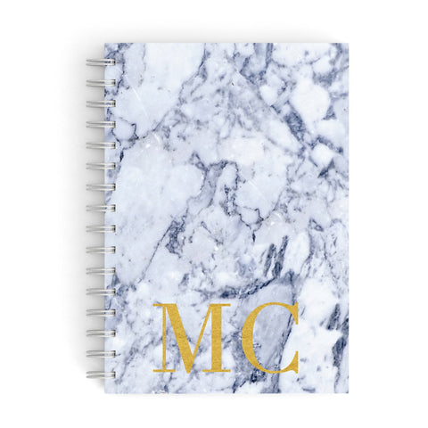 Marble Gold Initial Personalised A5 Hardcover Notebook
