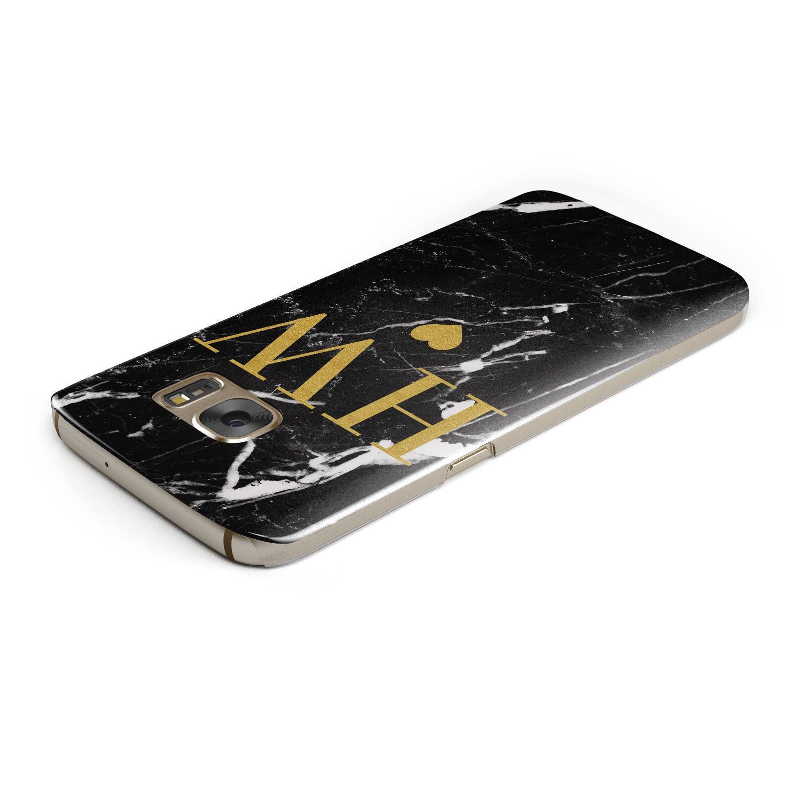 Marble Gold Initials Monogram Personalised Samsung Galaxy Case Top Cutout