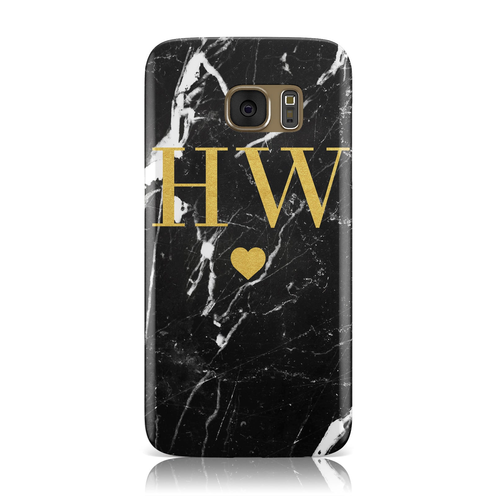 Marble Gold Initials Monogram Personalised Samsung Galaxy Case