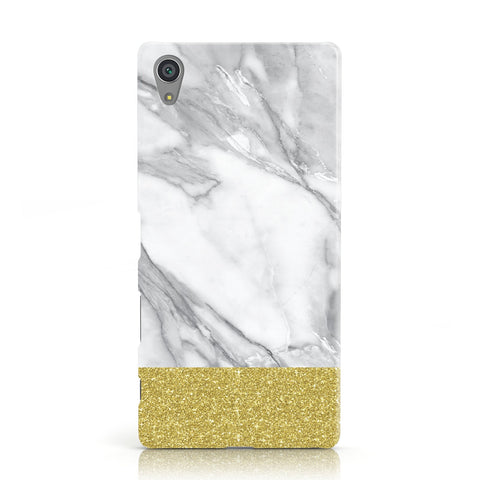 Marble Grey White Gold Sony Xperia Case