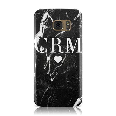 Marble Heart Initials Personalised Samsung Galaxy Case