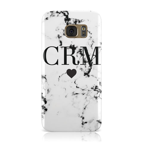 Marble Heart Personalised Initials Samsung Galaxy Case