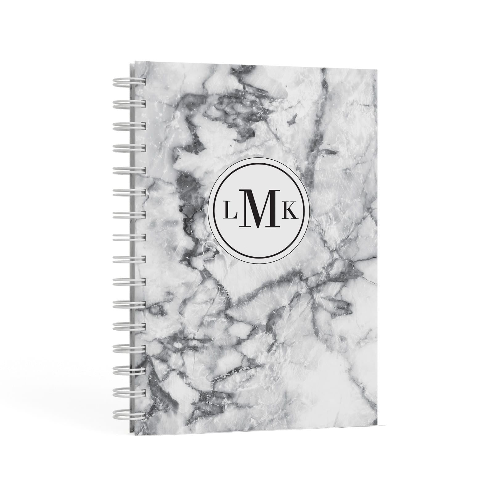 Marble Initials Circle Personalised A5 Hardcover Notebook Second Side View