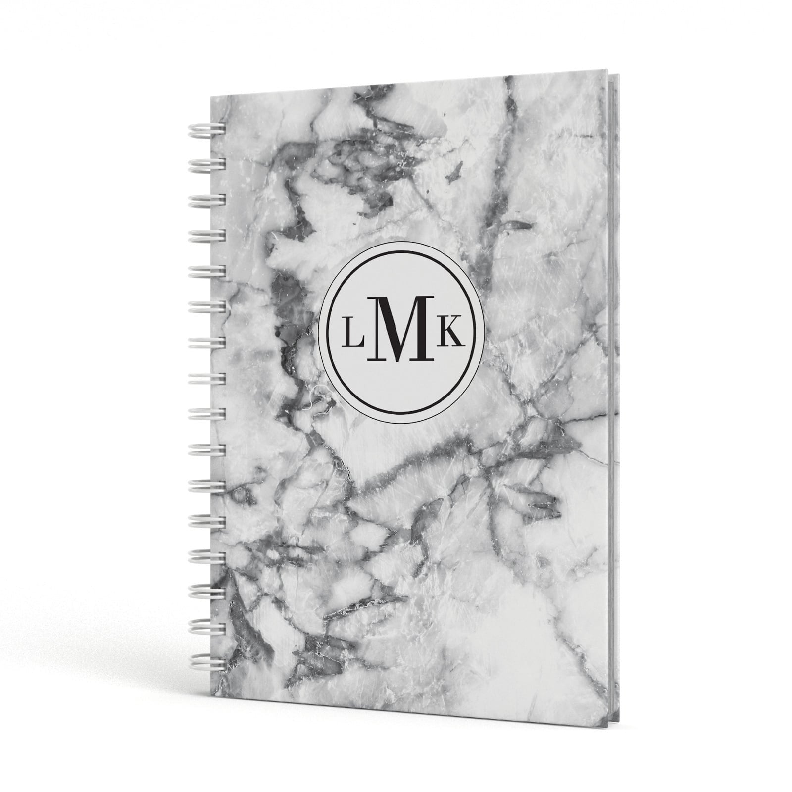 Marble Initials Circle Personalised A5 Hardcover Notebook Side View