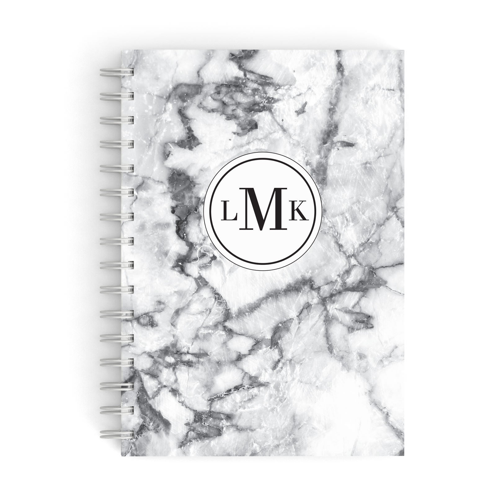 Marble Initials Circle Personalised A5 Hardcover Notebook