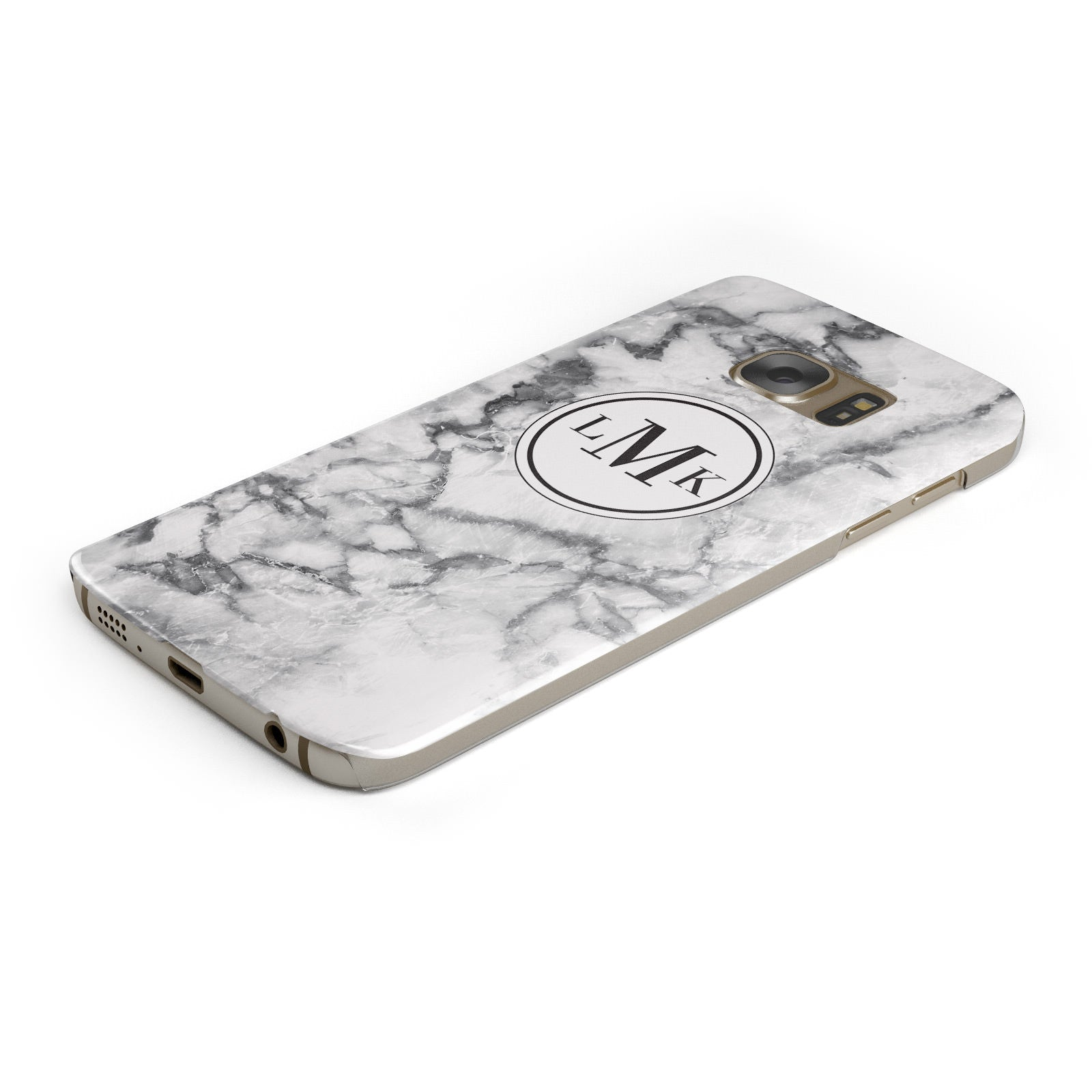 Marble Initials Circle Personalised Samsung Galaxy Case Bottom Cutout