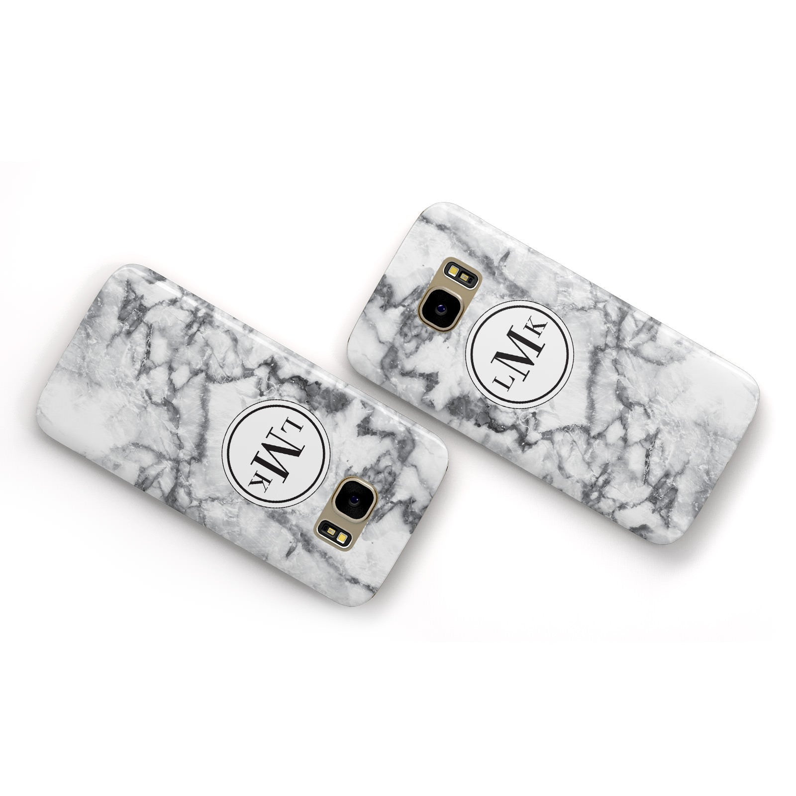 Marble Initials Circle Personalised Samsung Galaxy Case Flat Overview