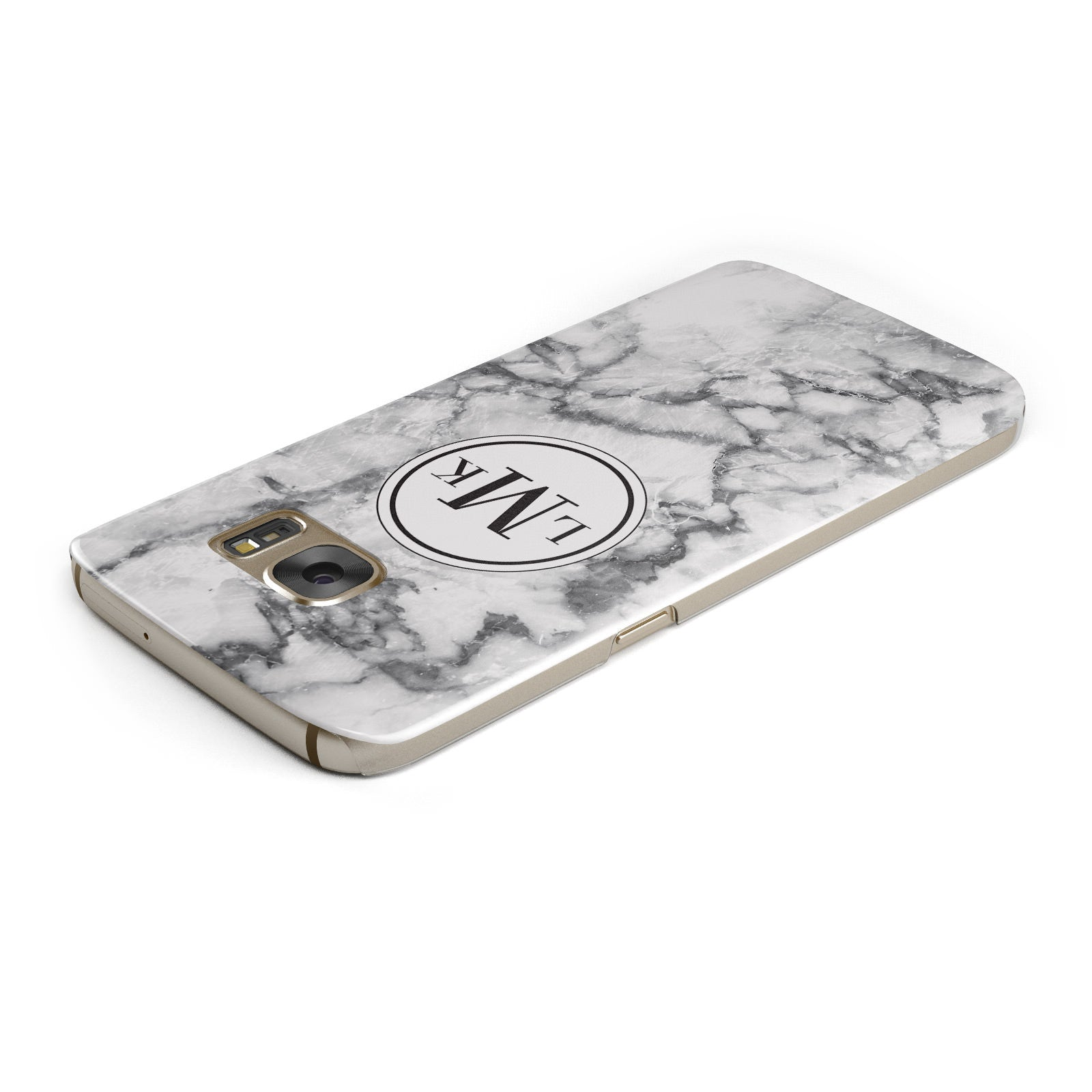 Marble Initials Circle Personalised Samsung Galaxy Case Top Cutout