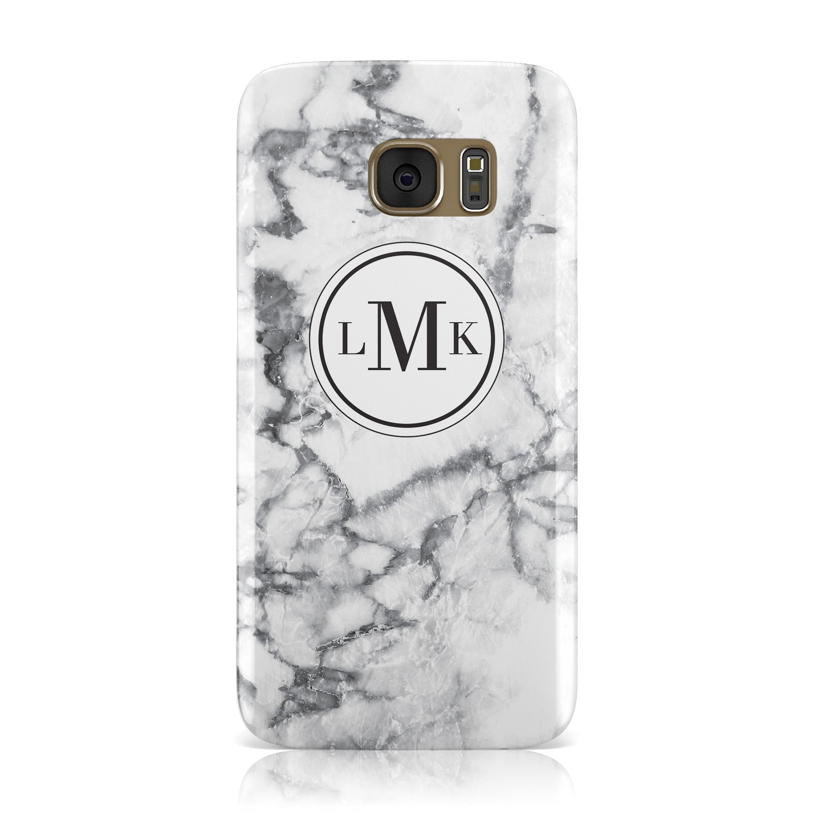 Marble Initials Circle Personalised Samsung Galaxy Case