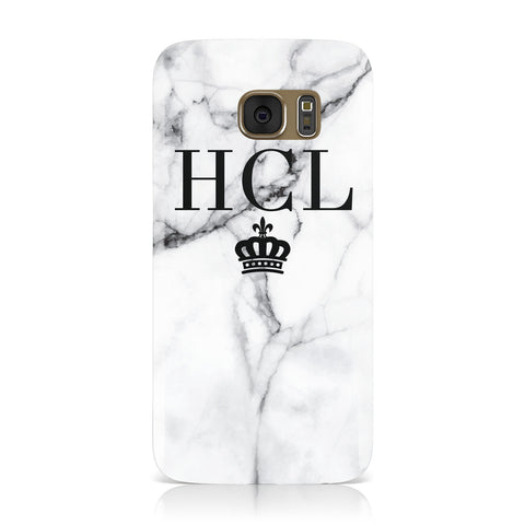 Personalised Marble Initials Crown Custom Samsung Galaxy Case