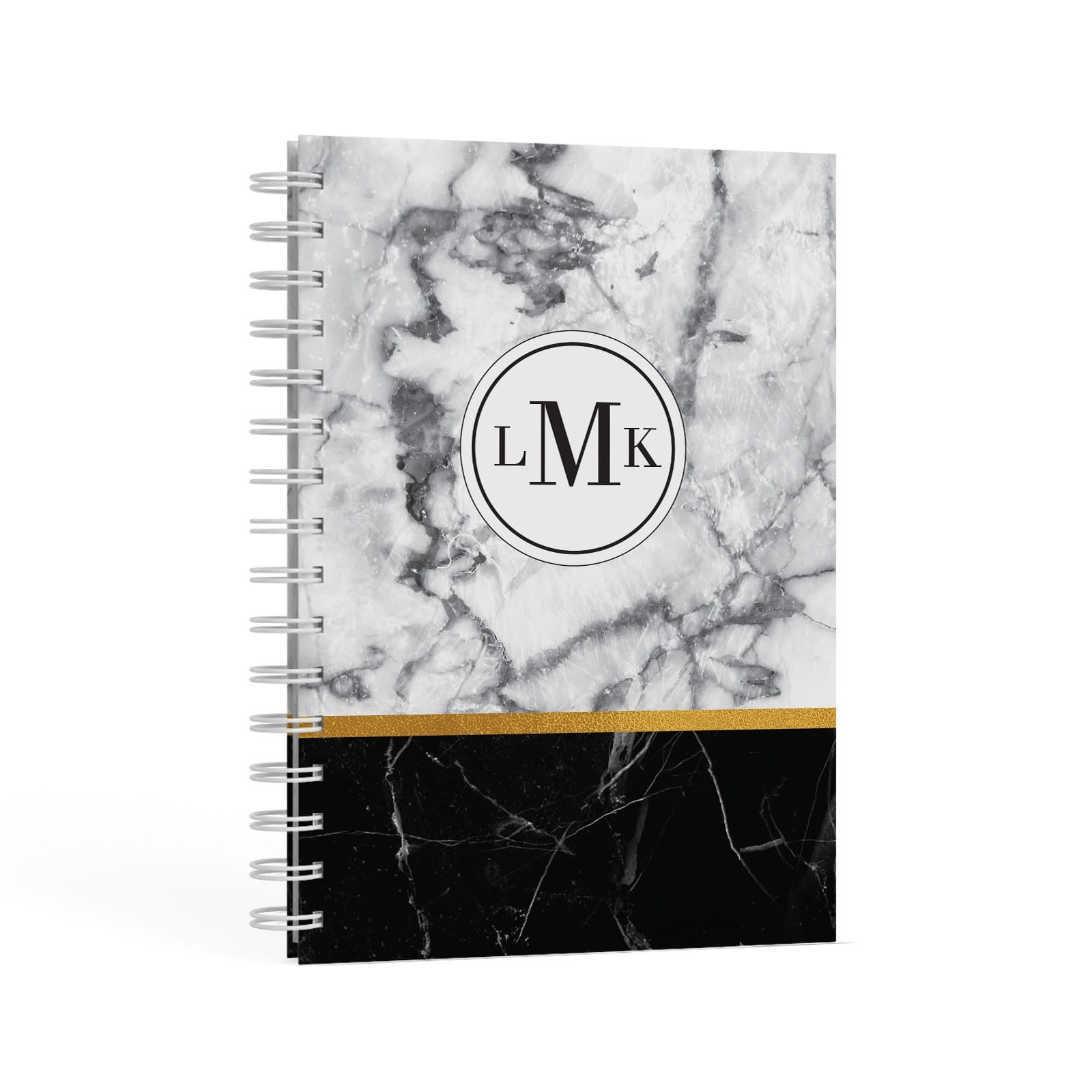 Marble Initials Geometric Personalised A5 Hardcover Notebook Second Side View
