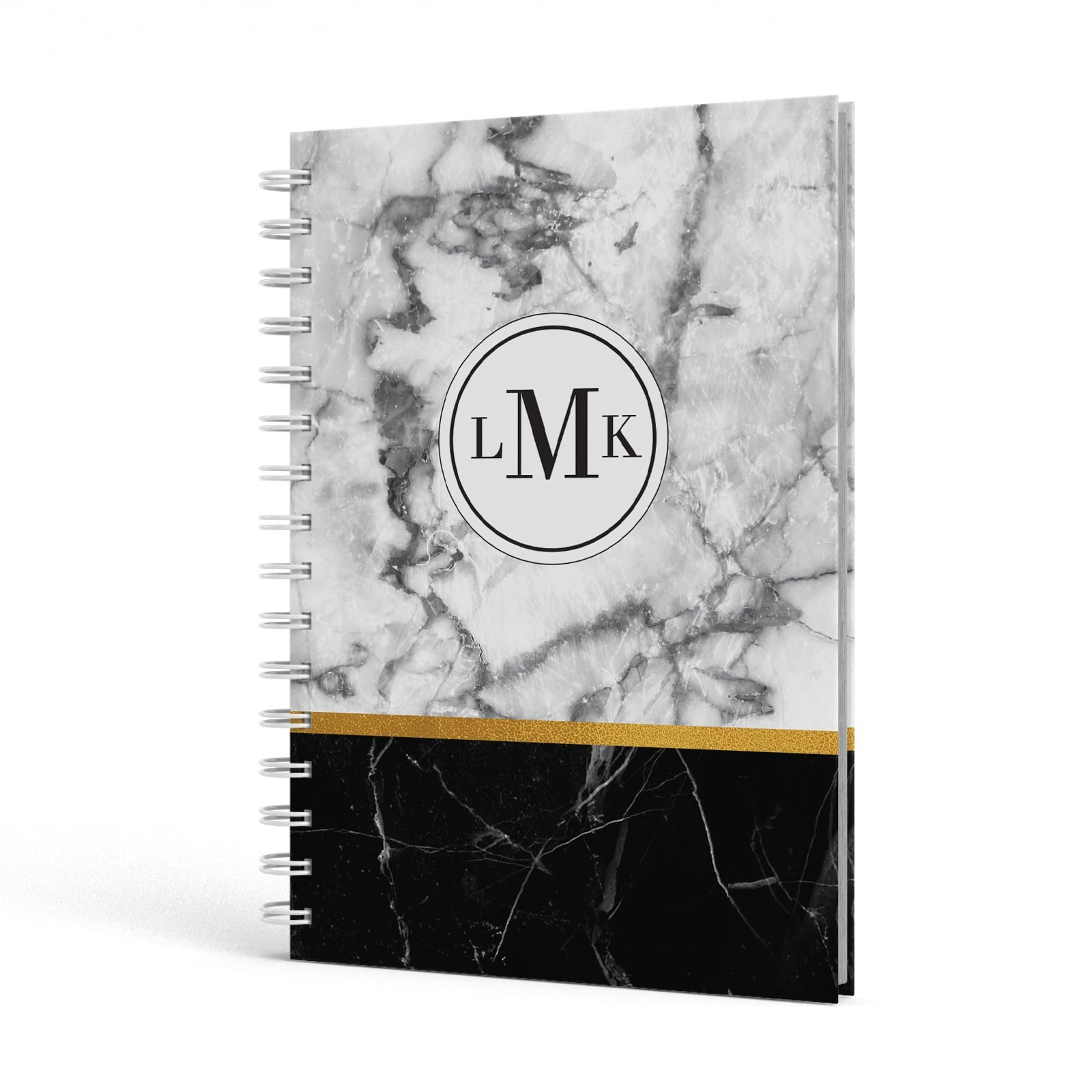 Marble Initials Geometric Personalised A5 Hardcover Notebook Side View