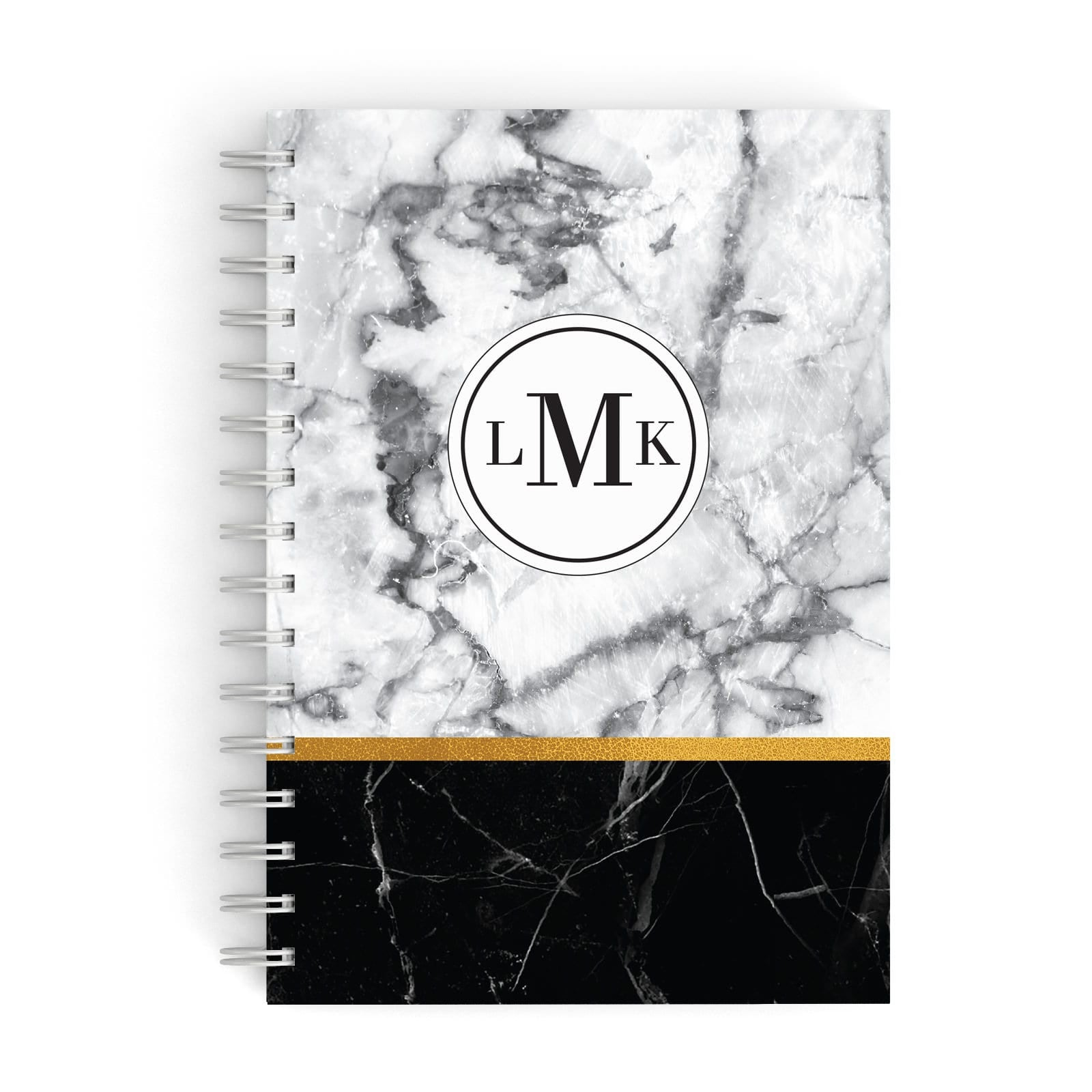 Marble Initials Geometric Personalised A5 Hardcover Notebook