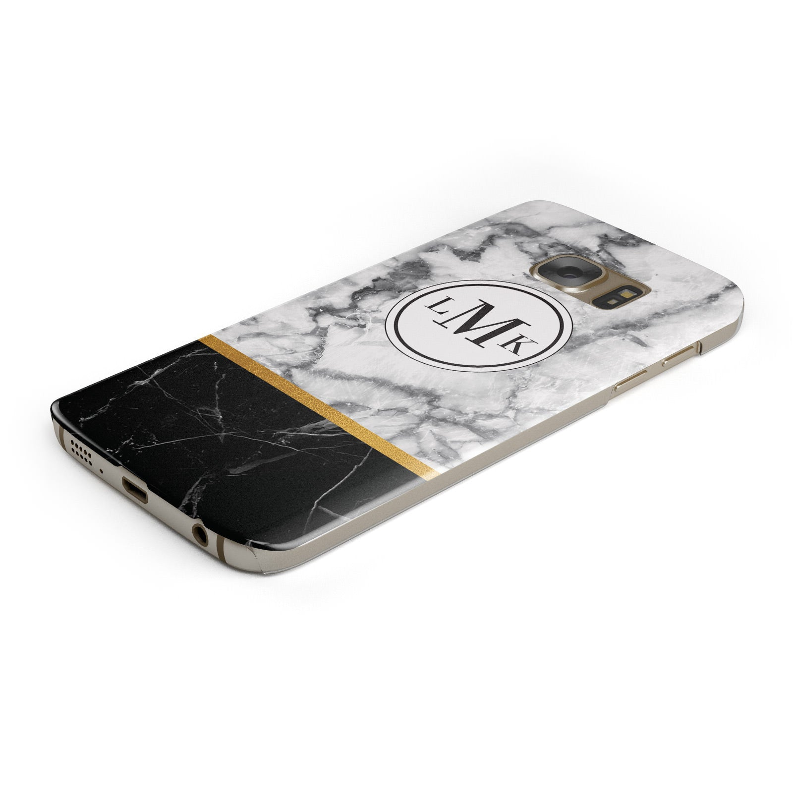 Marble Initials Geometric Personalised Samsung Galaxy Case Bottom Cutout