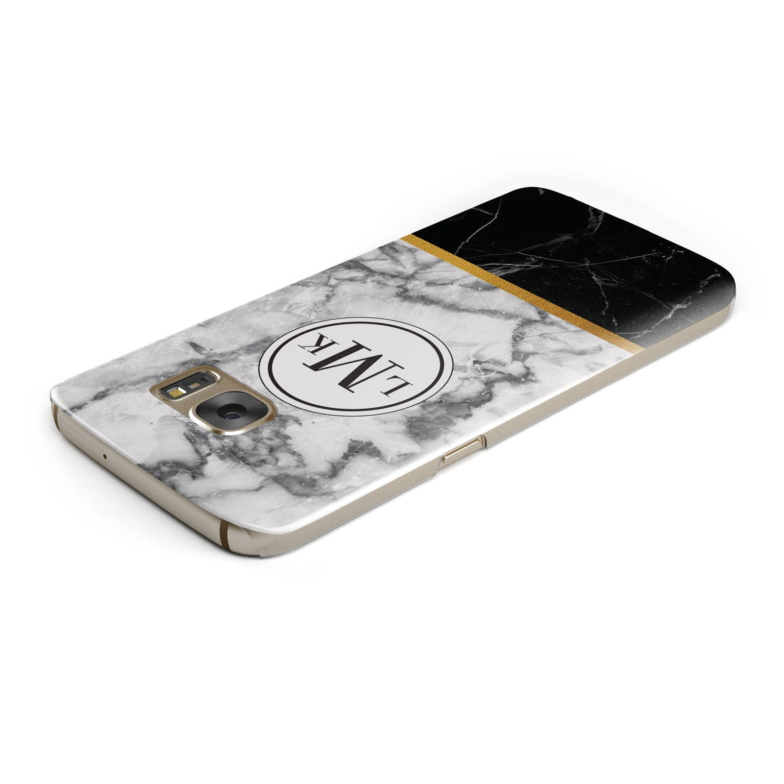Marble Initials Geometric Personalised Samsung Galaxy Case Top Cutout