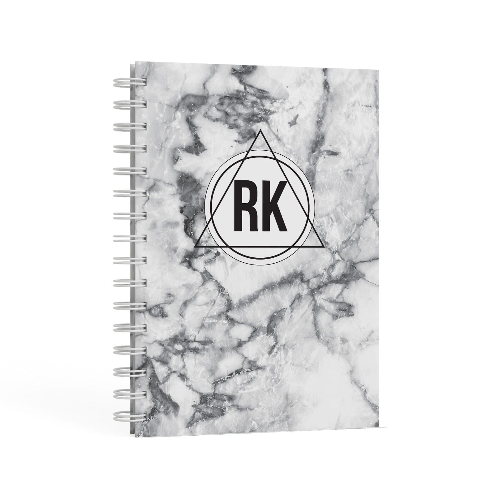 Marble Initials Triangle Personalised A5 Hardcover Notebook Second Side View