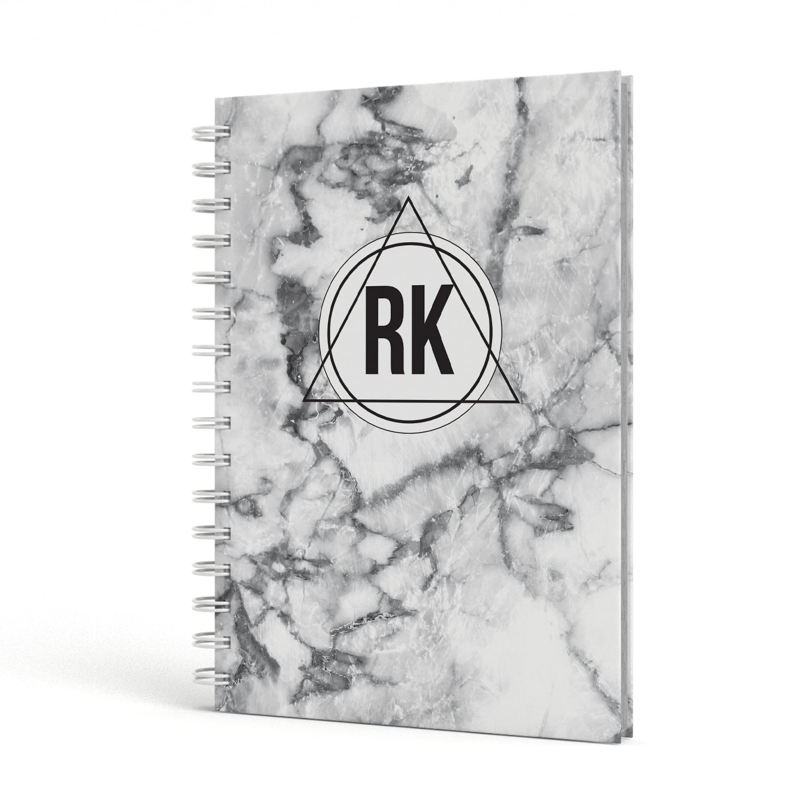 Marble Initials Triangle Personalised A5 Hardcover Notebook Side View