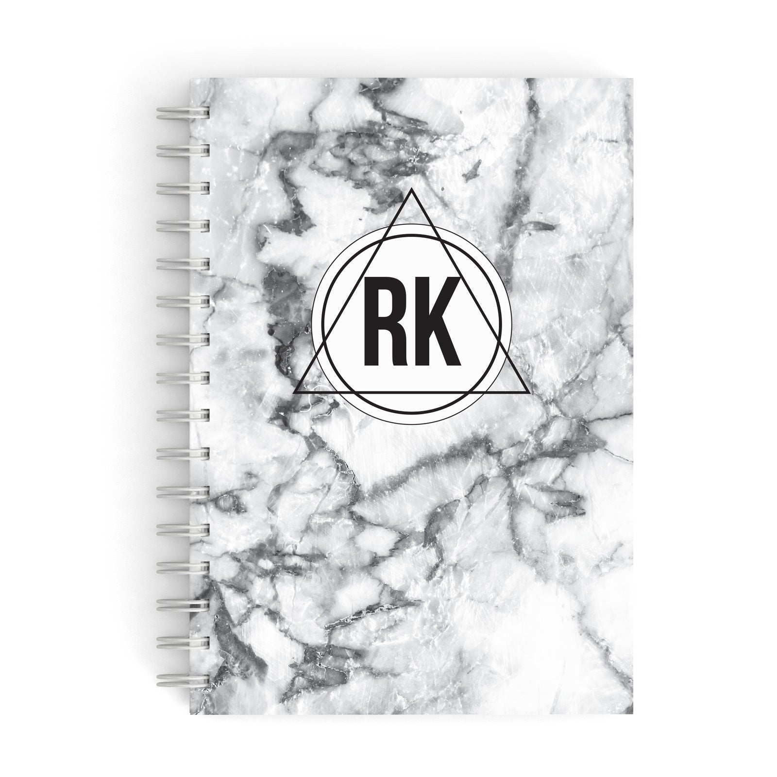 Marble Initials Triangle Personalised A5 Hardcover Notebook