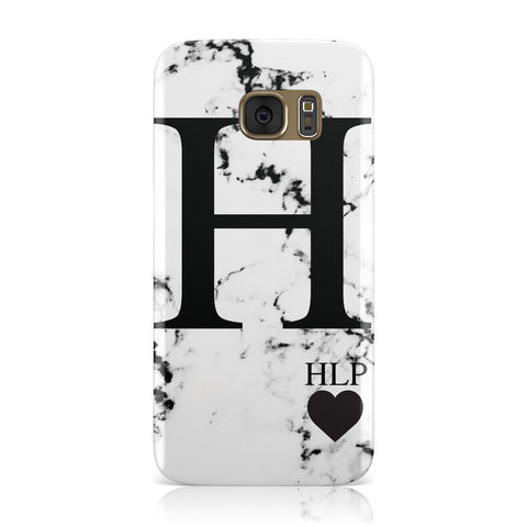 Marble Love Heart Personalised Samsung Galaxy Case