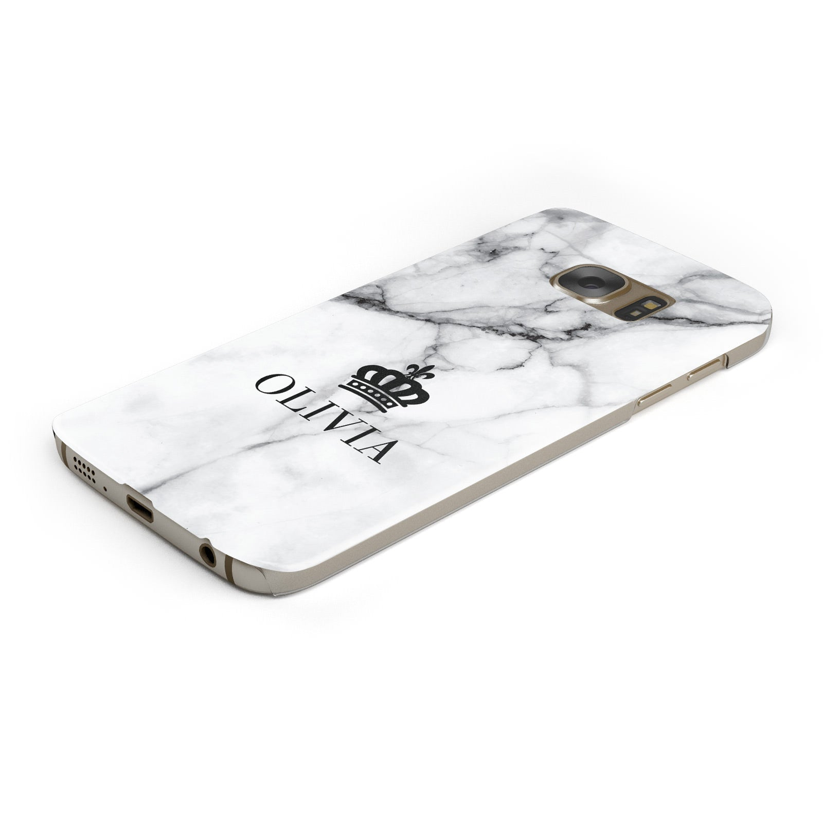Personalised Marble Name Crown Samsung Galaxy Case Bottom Cutout