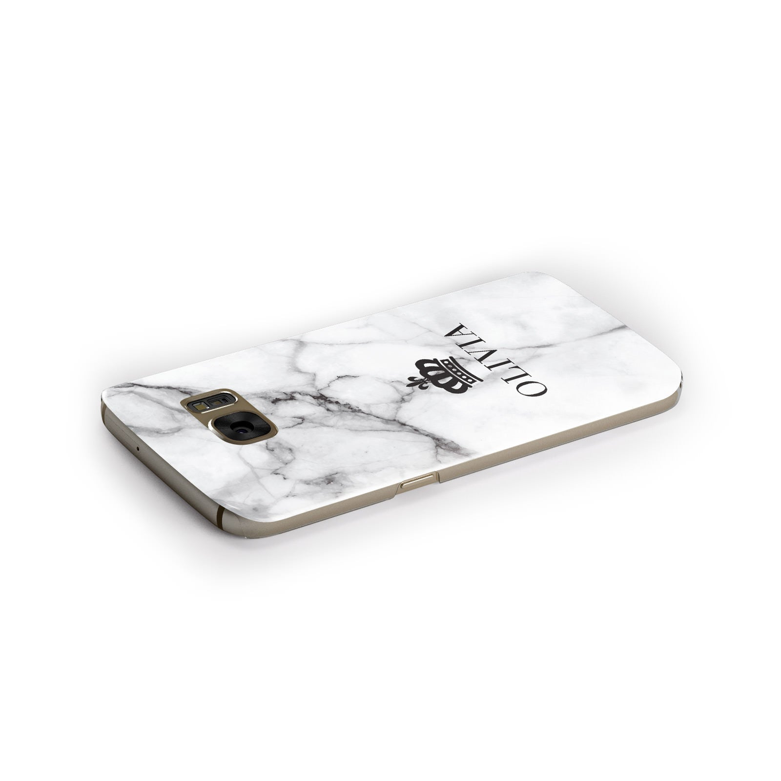 Personalised Marble Name Crown Samsung Galaxy Case Side Close Up