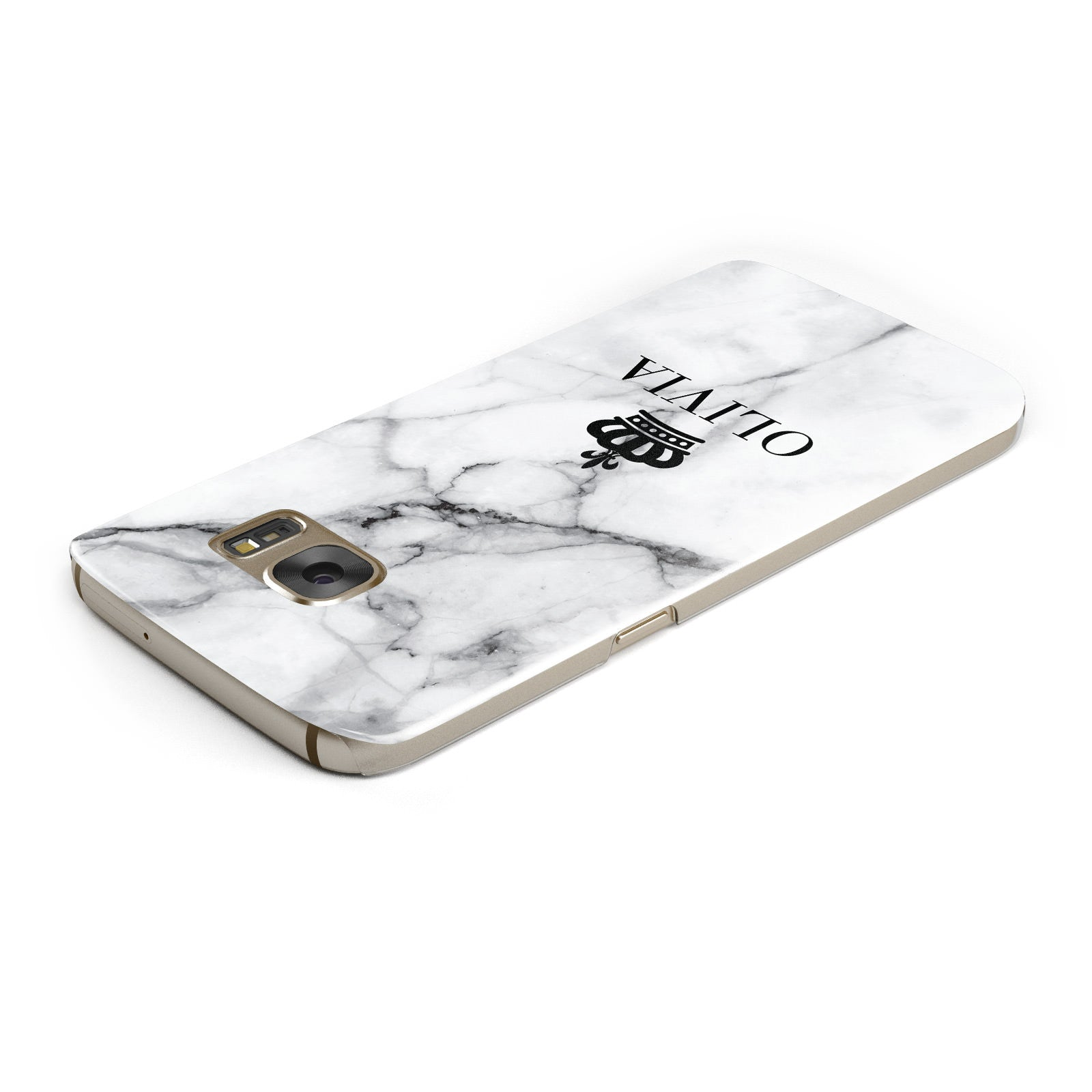 Personalised Marble Name Crown Samsung Galaxy Case Top Cutout