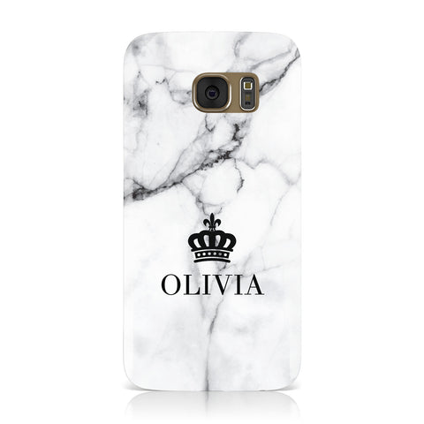 Personalised Marble Name Crown Samsung Galaxy Case
