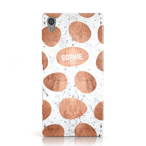 Personalised Marble Name Initials Rose Gold Dots Sony Xperia Case