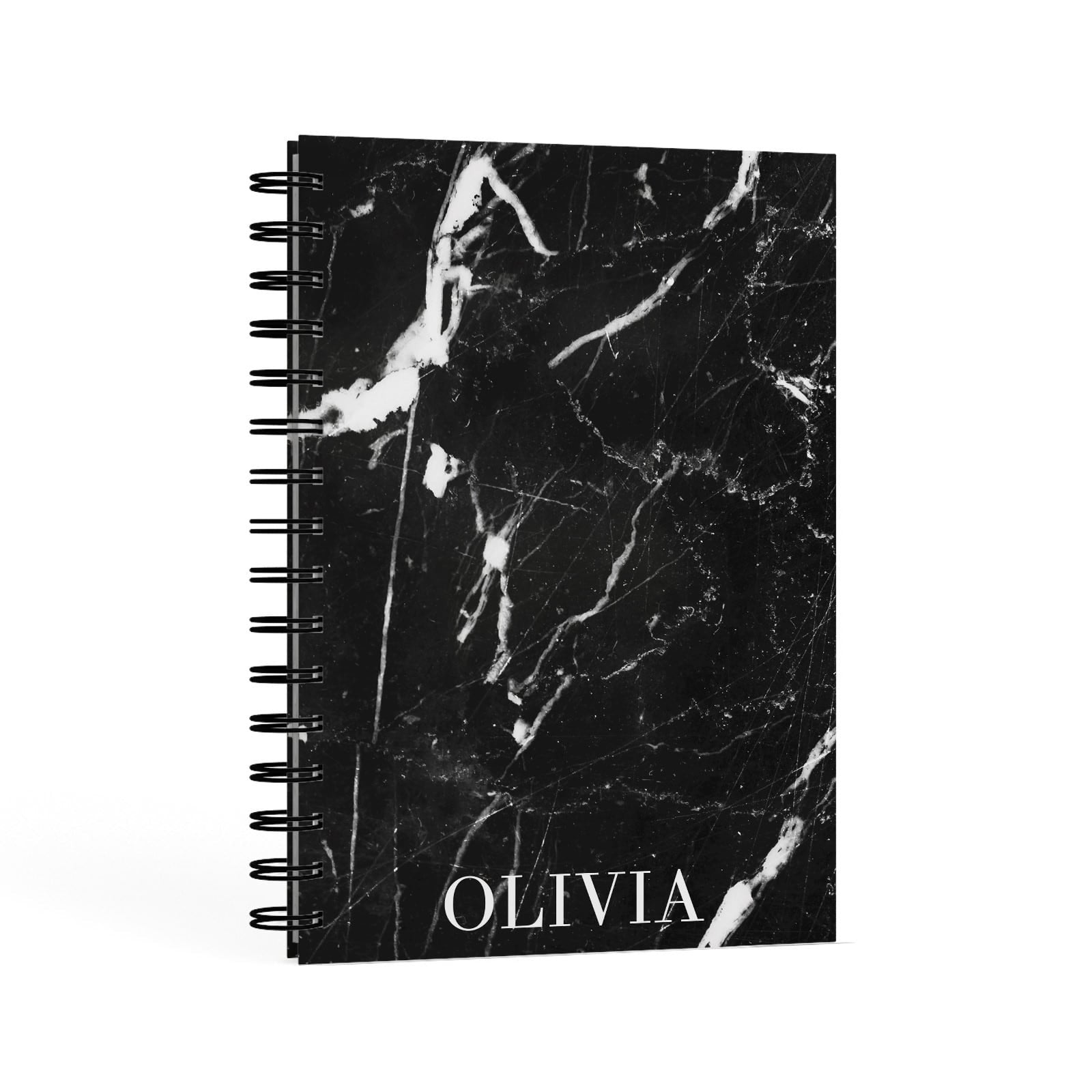 Marble Name Personalised A5 Hardcover Notebook Second Side View