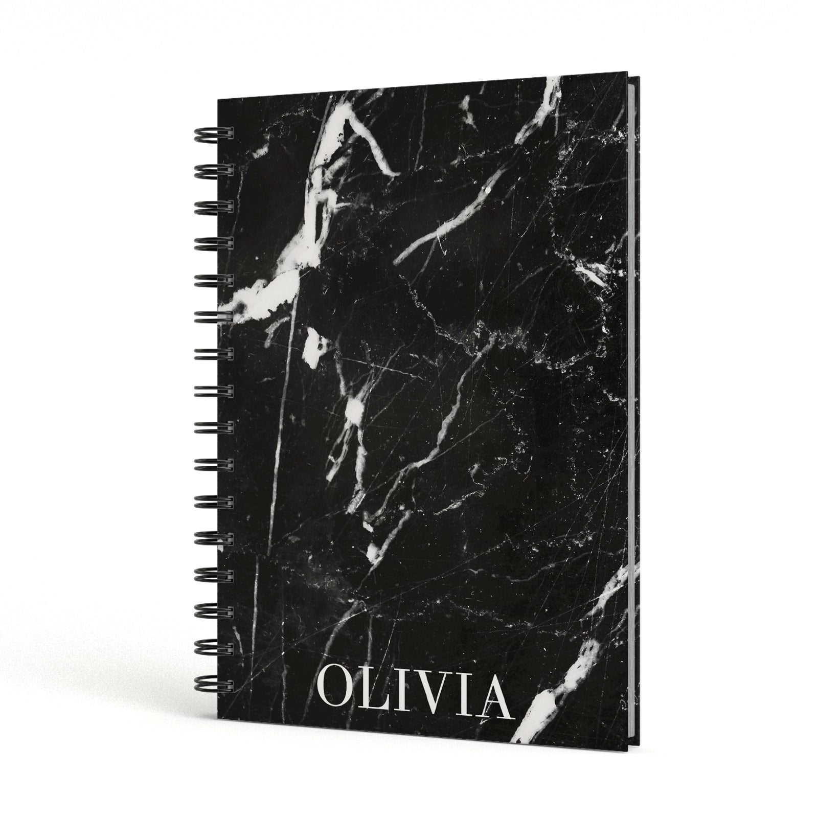 Marble Name Personalised A5 Hardcover Notebook Side View