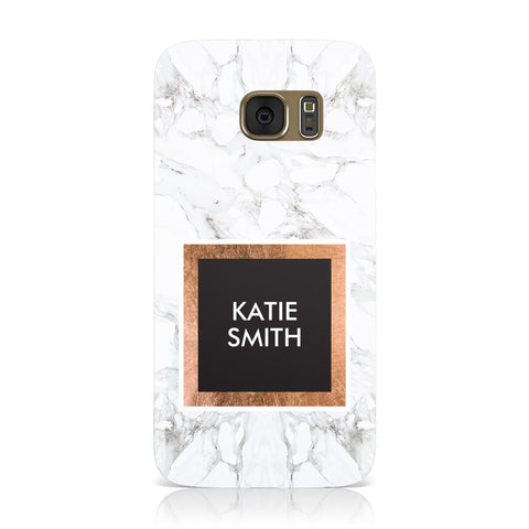 Personalised Marble Name Text Initials Samsung Galaxy Case