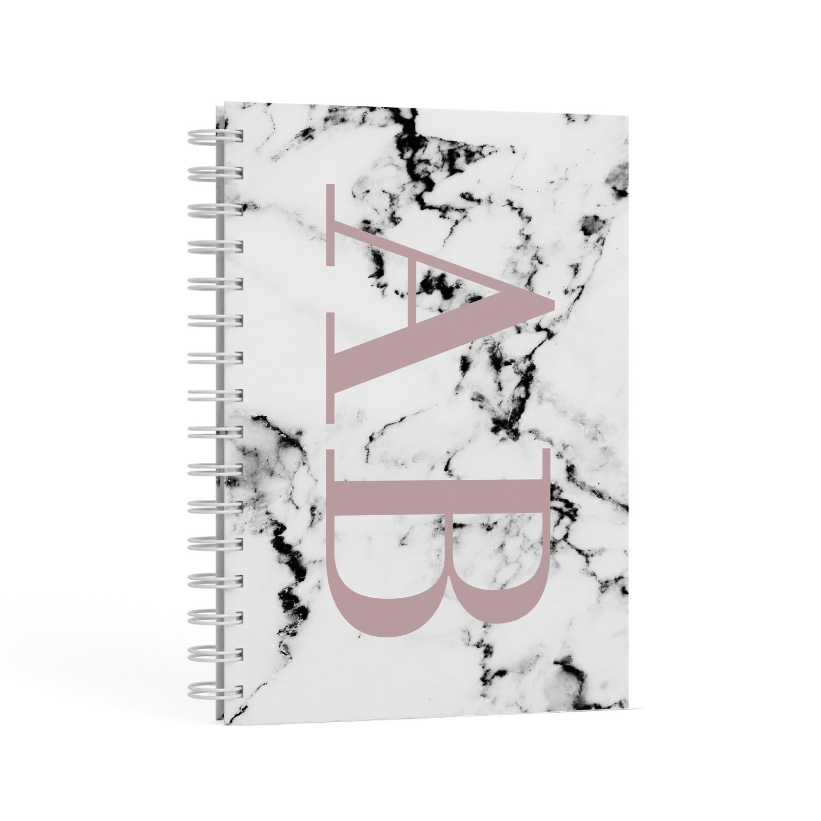 Marble Pattern Pink Initials Personalised A5 Hardcover Notebook Second Side View