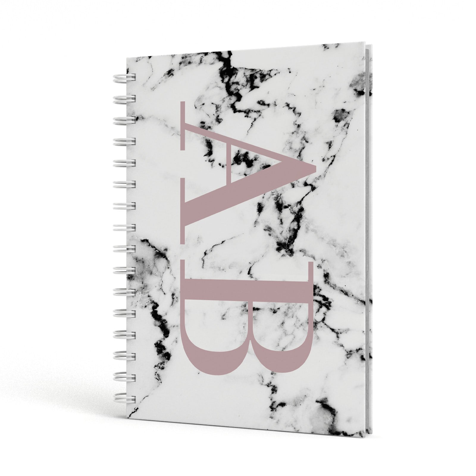 Marble Pattern Pink Initials Personalised A5 Hardcover Notebook Side View