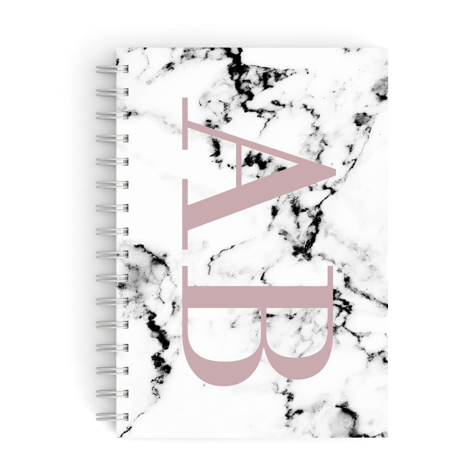 Marble Pattern Pink Initials Personalised A5 Hardcover Notebook