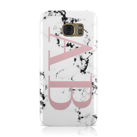 Marble Pattern Pink Initials Personalised Samsung Galaxy Case