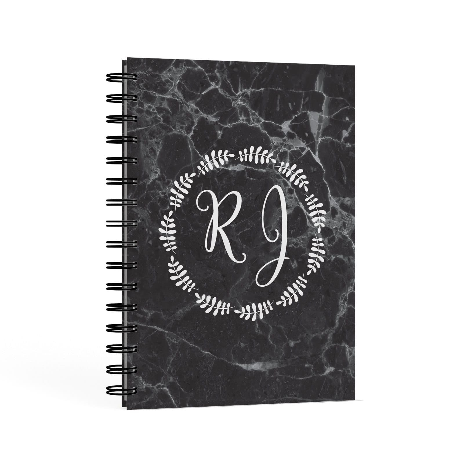Marble Personalised Initials A5 Hardcover Notebook Second Side View
