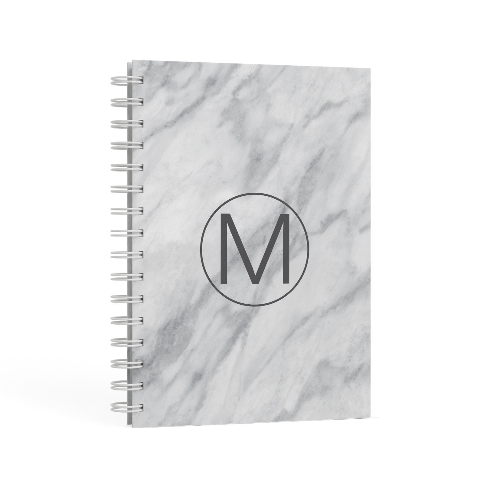 Marble Personalised Monogram A5 Hardcover Notebook Second Side View