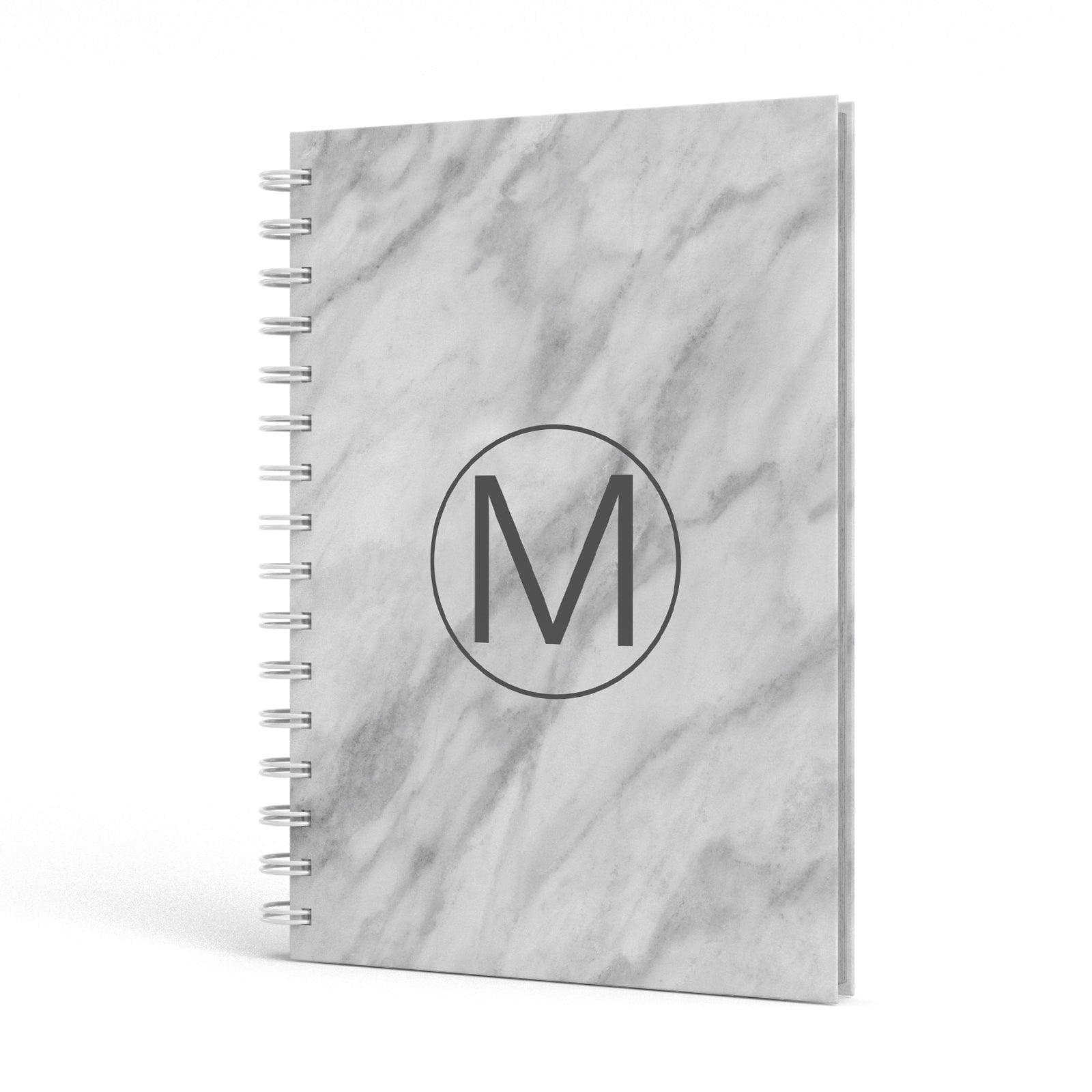 Marble Personalised Monogram A5 Hardcover Notebook Side View