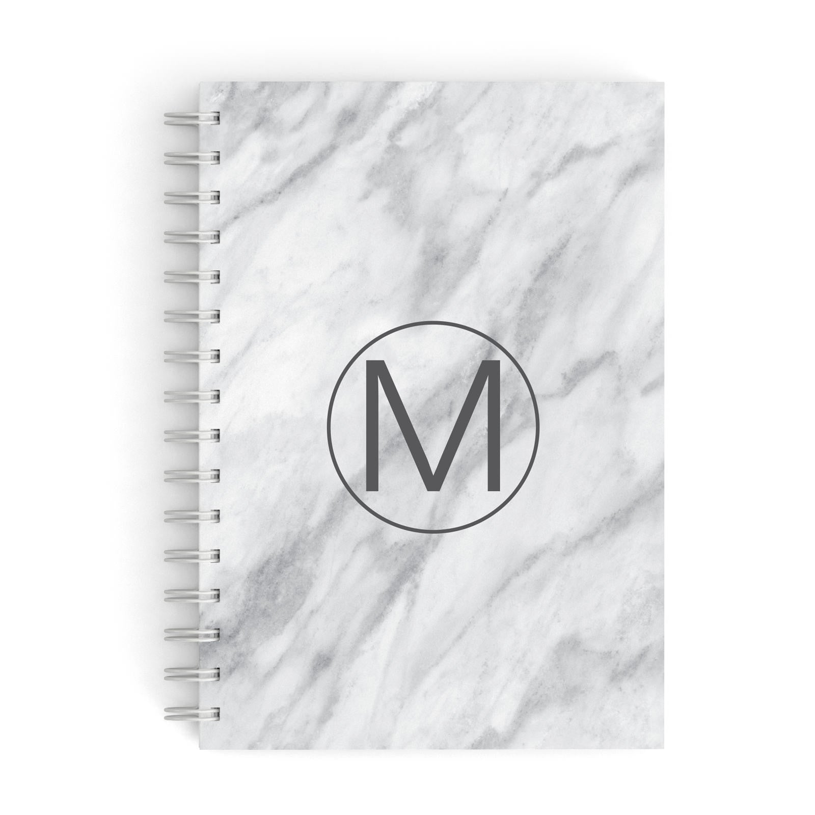 Marble Personalised Monogram A5 Hardcover Notebook