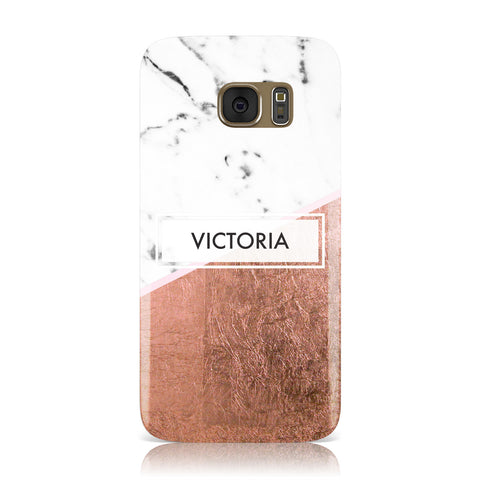 Personalised Marble Rose Gold Name Initials Samsung Galaxy Case