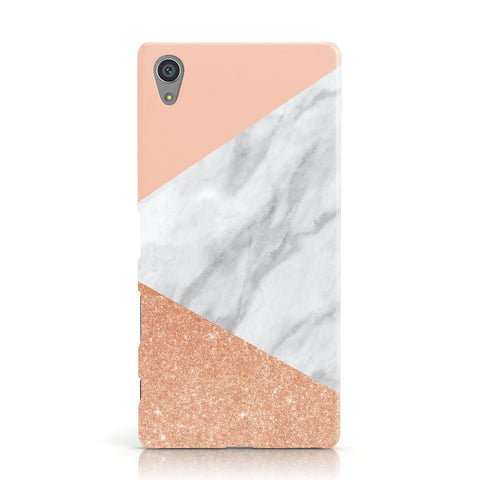 Marble Rose Gold Pink Sony Xperia Case