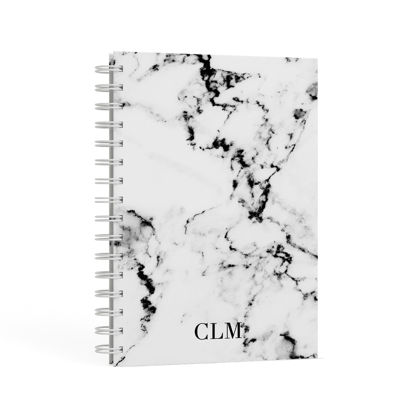 Marble Small Initials Personalised A5 Hardcover Notebook Second Side View