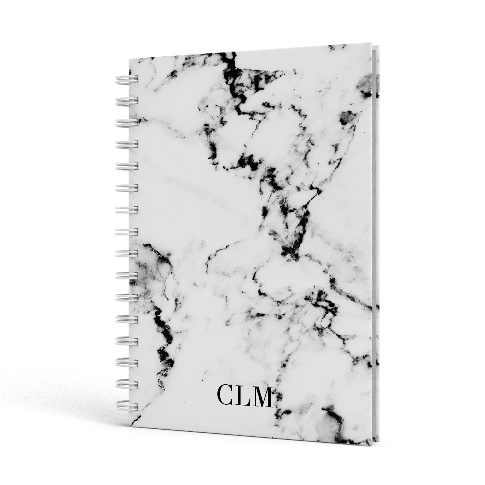 Marble Small Initials Personalised A5 Hardcover Notebook Side View