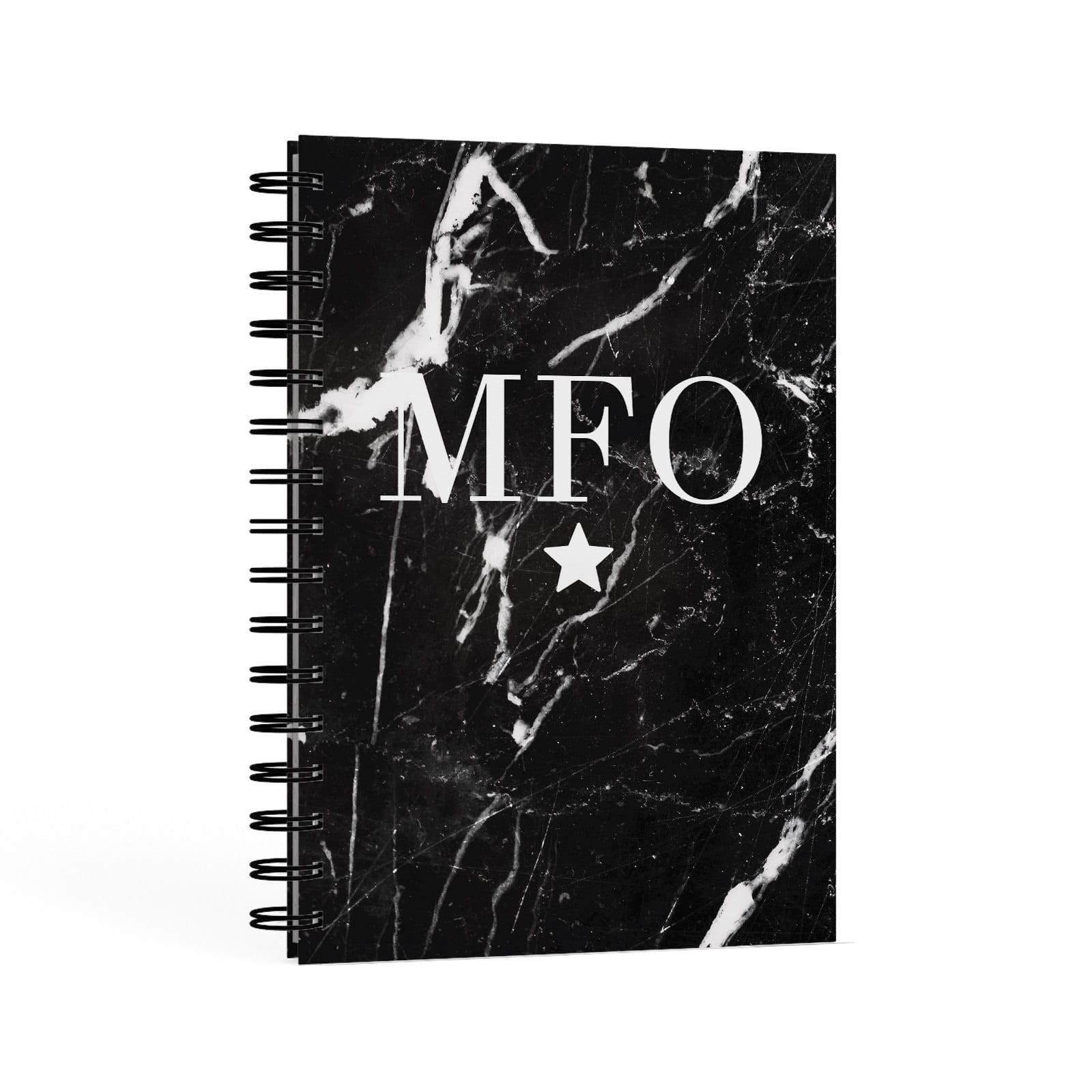 Marble Star Initials Personalised A5 Hardcover Notebook Second Side View