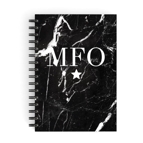 Marble Star Initials Personalised A5 Hardcover Notebook