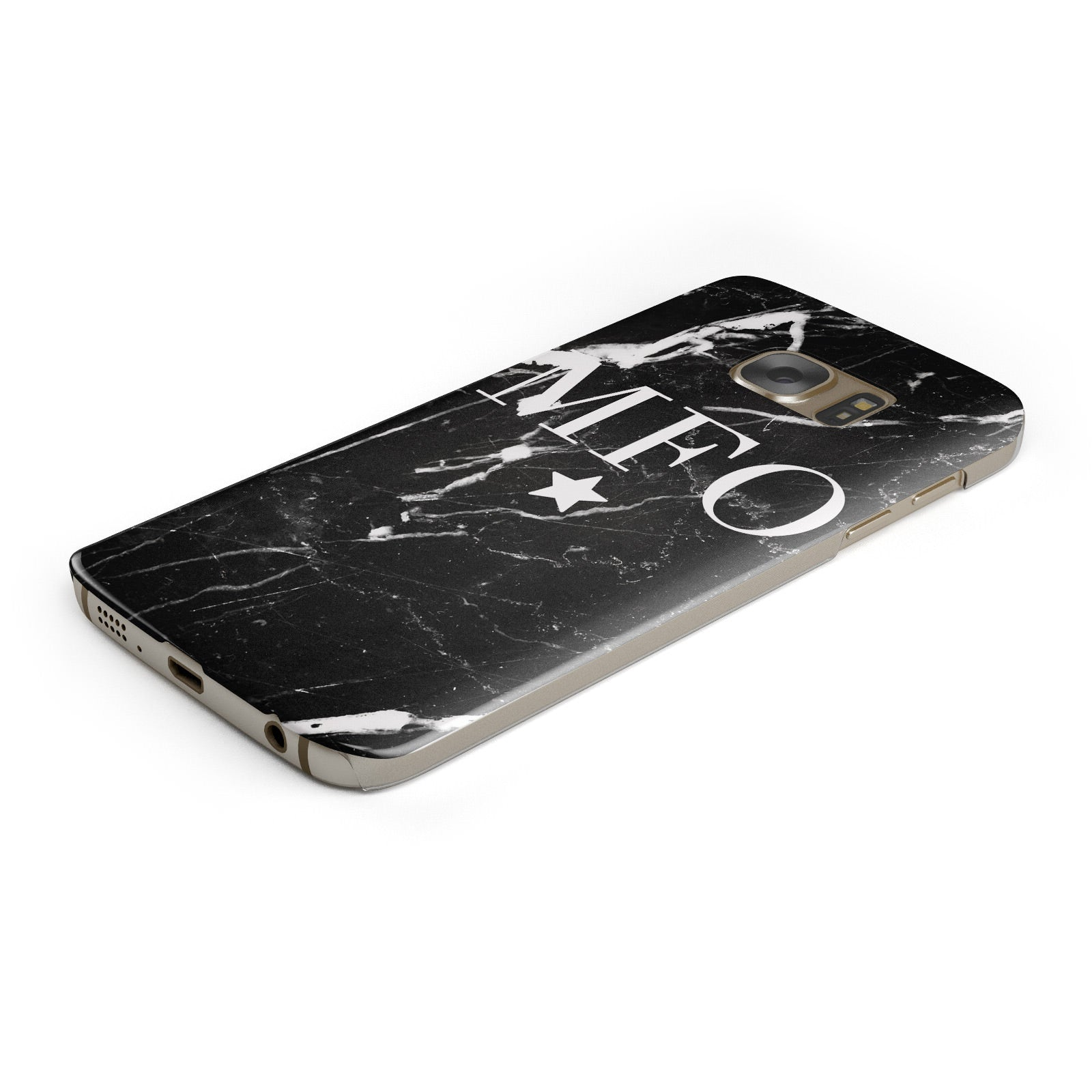 Marble Star Initials Personalised Samsung Galaxy Case Bottom Cutout