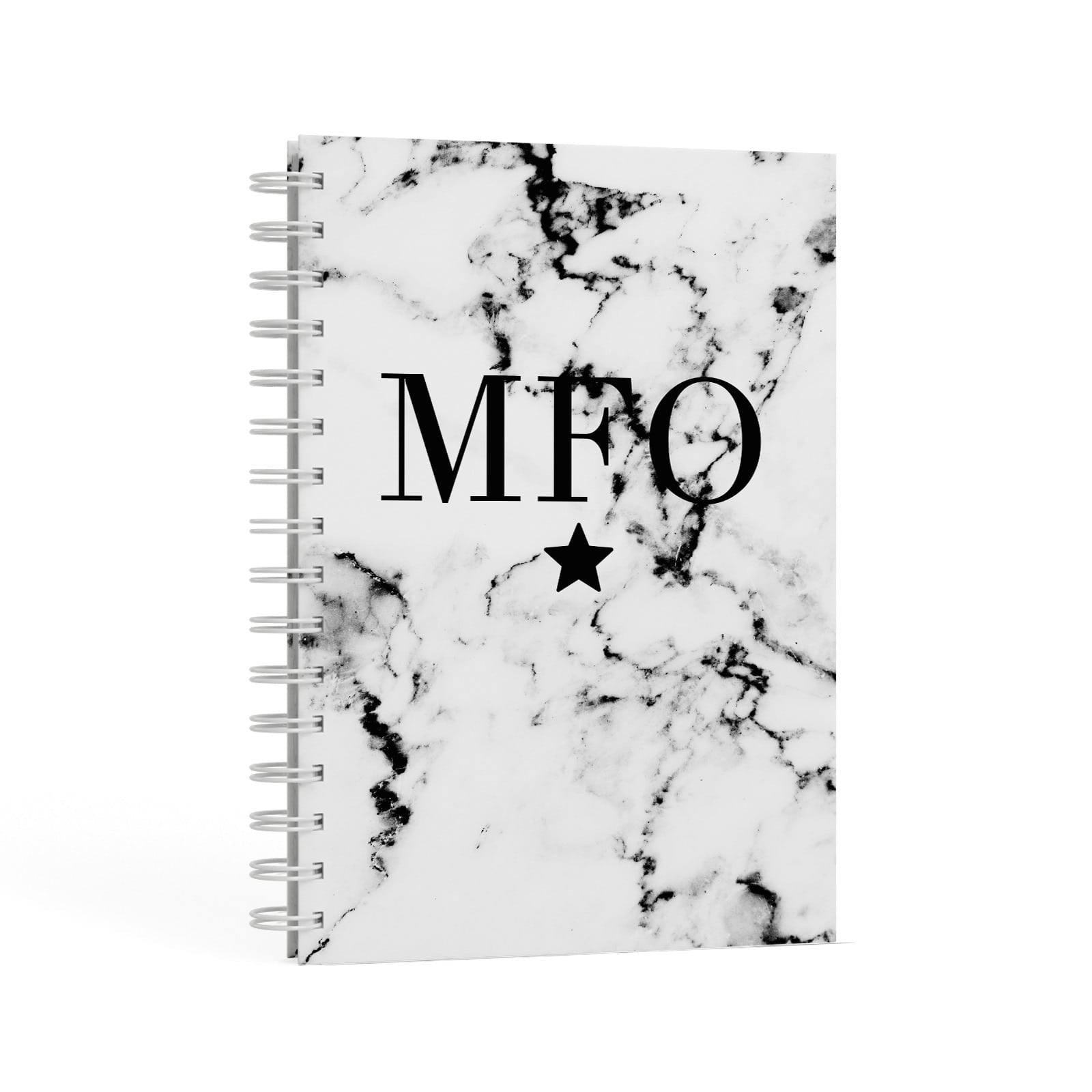 Marble Star Personalised Initials A5 Hardcover Notebook Second Side View