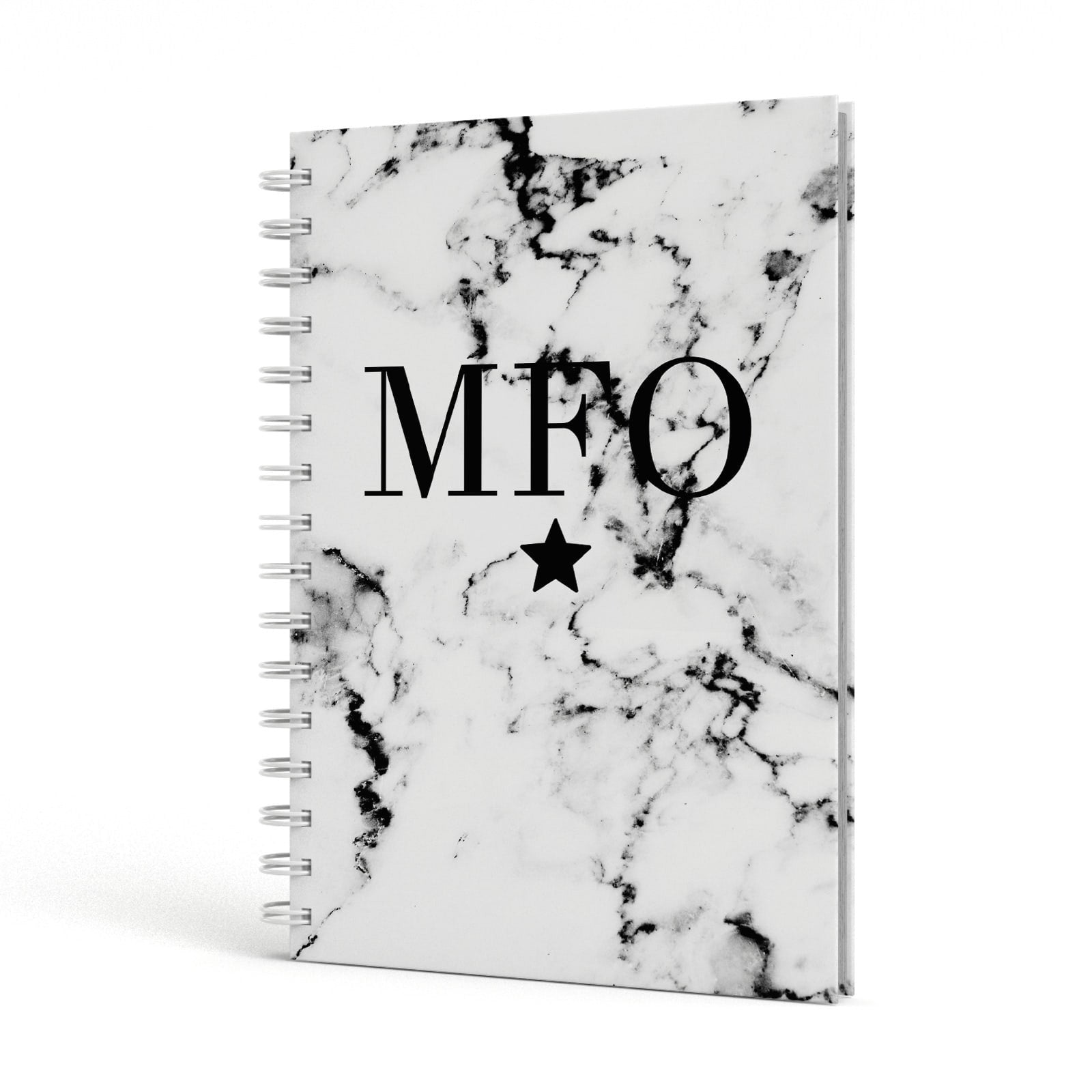 Marble Star Personalised Initials A5 Hardcover Notebook Side View