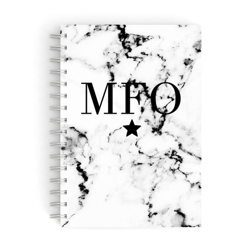 Marble Star Personalised Initials A5 Hardcover Notebook
